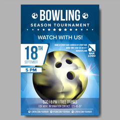 Bowling Poster Vector. Banner Advertising. Sport Event Announcement. Ball. A4 Size. Announcement, Game, League Design. Championship Label Illustration