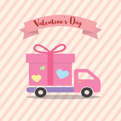 Happe Valentines day Delivery Truck with heart love design concept for Transport, Logistics, tranfer Service.