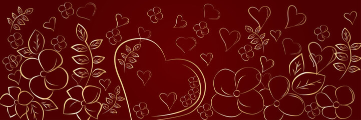 Heart and flowers on a red background, card for the day of St. Valentine. Vector illustration.