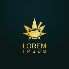 gold herbal marijuana logo