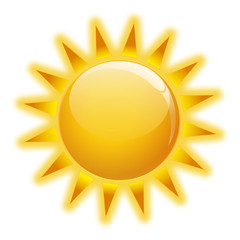 Illustration of the sun icone on white background