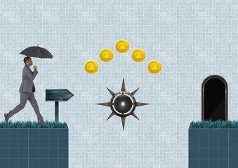Business person in Computer Game Level with coins and traps