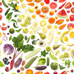 Seamless pattern of various fresh vegetables and fruits isolated on white background, top view, flat lay. Composition of food, concept of healthy eating. Food texture.