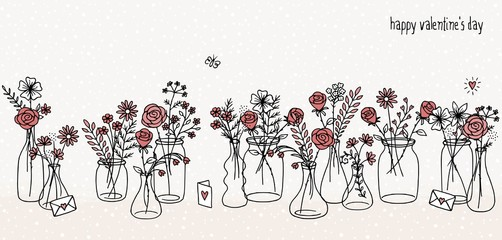 A collection of hand drawn flower bouquets for Valentine's day or other occasions