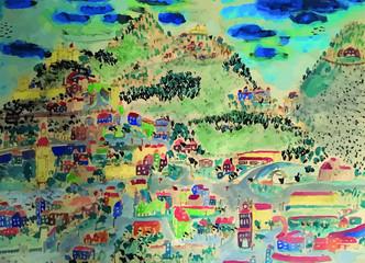 Villages colorés imaginaires dans les montagnes