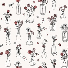 Seamless flower bouquet pattern for Valentine's Day, weddings, and other occasions