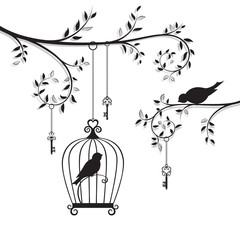 The bird in the cage hanging on the branch. Line-art silhouette.