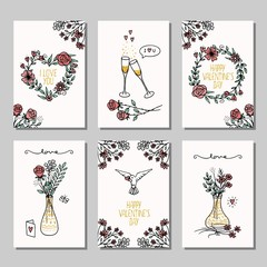 Set of six hand drawn mini cards for Valentine's day, design template with flower bouquets, champagne glasses and hearts