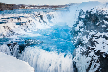 Gullfoss waterfall view and winter Lanscape picture in the winter season