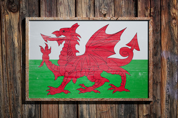 Wooden Wales flag