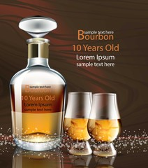 Bourbon bottle and glasses realistic Vector. product packaging mock up detailed illustration