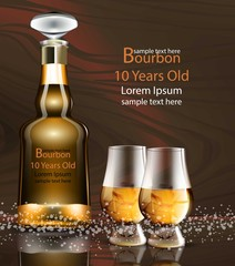 Bourbon bottle and glasses realistic Vector. product packaging mock up detailed illustrations