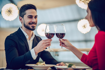 Romantic couple in restaurant