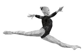 split jump girl gymnast in artistic gymnastics. low poly