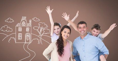 Family having fun together with home drawing