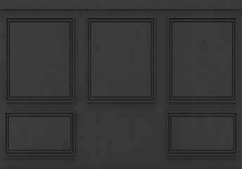 3d rendering. luxury classical black wood square pattern wall background
