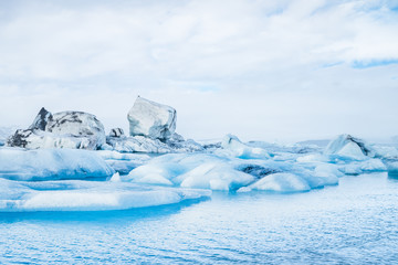 Jokulsarlon lagoon, Iceland. Beautiful cold winter landscape of Jokulsarlon glacier lagoon, Iceland in the winter.