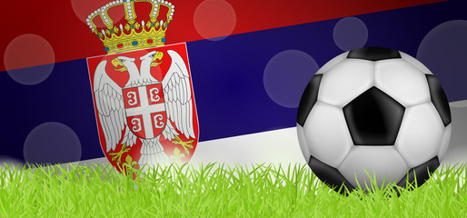 Fußballwiese - Flagge von Serbien