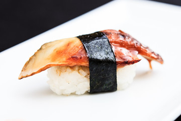 Eel sushi served on a plate