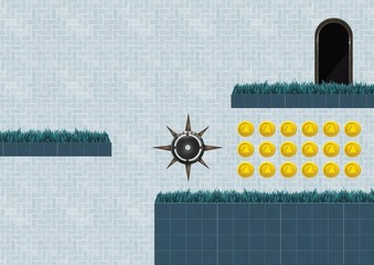 Computer Game Level with coins and trap