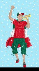 """Mexico Soccer Fan with Bugle"" Mexican supporter, confetti papers and background are in different layers."