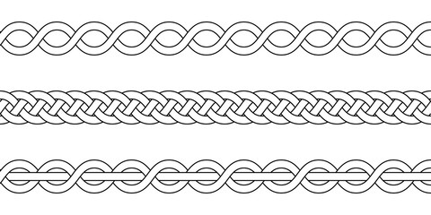 macrame crochet weaving, braid knot, vector knitted braided pattern intersecting strands wicker