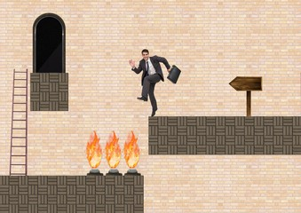 Businessman in Computer Game Level with traps and ladder