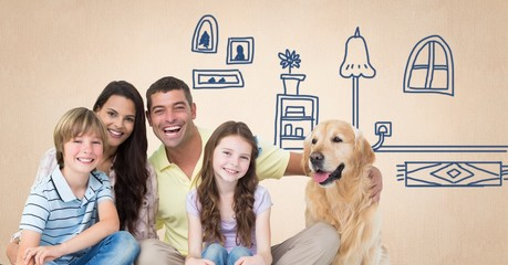 Family with dog and home drawings