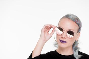 Silver Hair Fashion Model