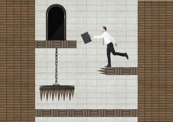 Businessman in Computer Game Level with coins and traps