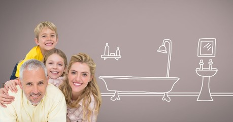 Family together with bathroom drawings