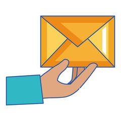 hand with mail envelope vector illustration design