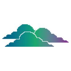 clouds pixel climate day nature vector illustration blur background color gradient