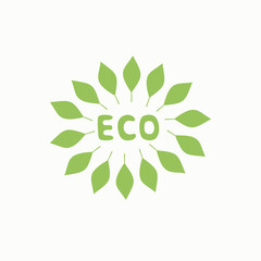 Logo with inscription eco and green leaves.