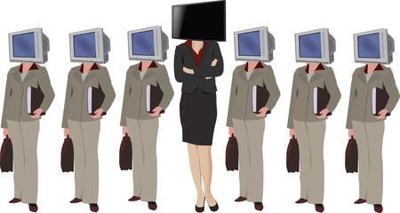 figure femminili con in  testa la televisione