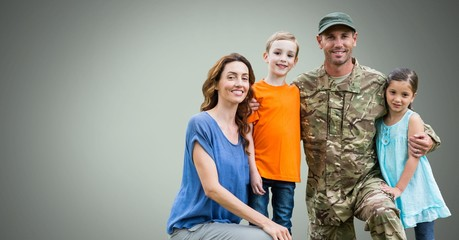 Happy Military Family with green background