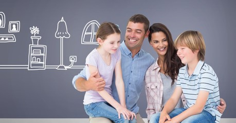 Family together with home drawing