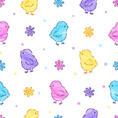 Cute Easter chickens pattern. Vector colorful seamless background.