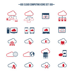 Cloud Computing icon set. Editable vector icons. Can be used for any project.