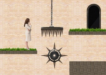 Businesswoman in Computer Game Level with traps