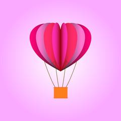 Paper heart ballon. Valentine's day. Vector illustration.