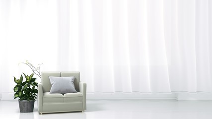 The interior has a sofa and plants on empty white wall background. 3D rendering