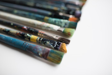 close up of dirty paintbrushes