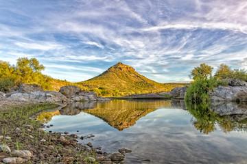 Sierra Guadalupe creek in baja california landscape panorama desert of stones at sunrise
