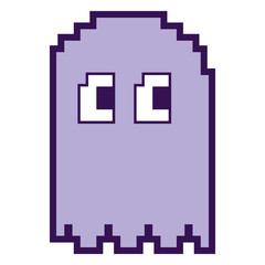 pixelated ghost monster arcade game icon vector illustration