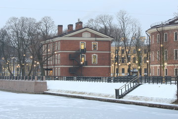 Russia, St. Petersburg, New Holland Island in winter