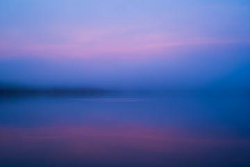 Tuinposter Pier Sunrise Reflection Over Reservoir