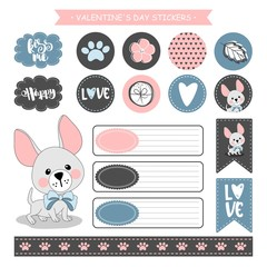 Sticker set of funny dogs with hearts. Valentine's day. Vector illustration.