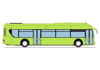Cartoon city low floor bus. Side view. Flat vector.