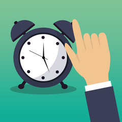 hand touch alarm clock time concept vector illustration